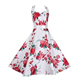 Search : Elite99 Women's Princess Sleeveless Vintage Style Floral Halterneck Skater Swing Dress
