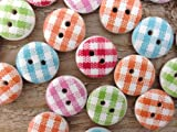 Gingham Painted Wooden Buttons In Mixed Colours (15mm X 25pcs Pack) Perfect For Card Embelishing, Scrapbooking & Other Arts& Craft Projects. - iWorldApparel - amazon.co.uk
