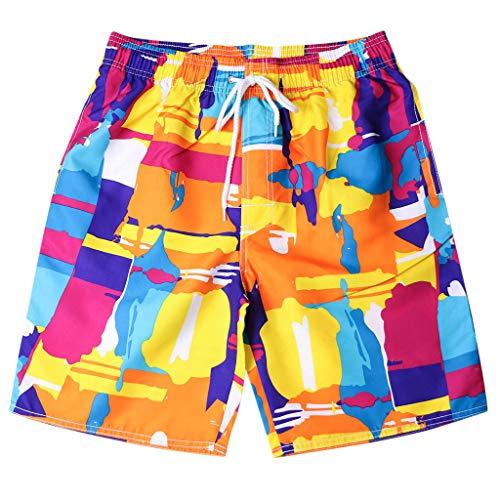 GreatestPAK Pants Herren Badehose Schnell Trocknend Strand Surfen Laufen Schwimmen Graffiti Prints Shorts,Orange,M