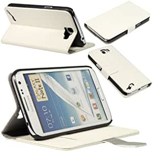 PU Synthetic Leather Case Cover Wallet for Samsung Galaxy Note 2 N7100 PC334 (White)