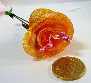 Confezione 60 pezzi-fiori, Bomboniera fiore rosellina organza, x segnaposto, composizione confetti. Ck425 (ARANCIO)