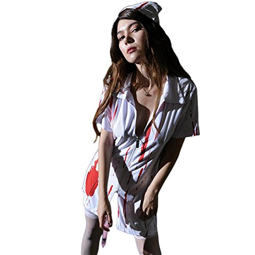 FGDJTYYJ Halloween Kostüm Blut Krankenschwester Frauen Fancy Zipper Kleid Zombie Alley Erwachsene Cosplay Dessous Babydoll Plus - Plus Zombie Krankenschwester Kostüm