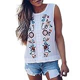 Covermason Tops Damen Sommer O-Ausschnitt Stickerei Ärmellos Tanktops Oberteile T-Shirt Bluse (XL, Weiß)