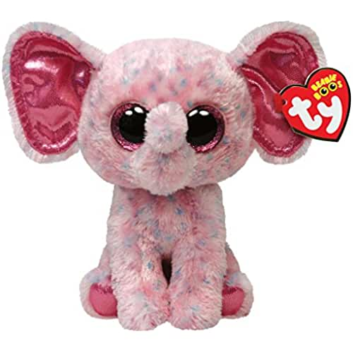 peluches TY - Peluche elefante, 15 cm, color rosa (United Labels 36728TY)