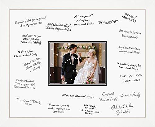 Unterschriftenbrett für Hochzeitsgäste, mit weißem Rahmen, mittelgroß, 30,5x 40,6cm, holz, weiß, Landscape/Portrait Rectangle (Signatur-foto-rahmen)