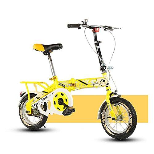YEARLY Kinderfahrrad, Schüler klappräder Leichte tragbare Schülerinnen und schüler Klappräder Für 6-10 jahre alt-Gelb 12inch