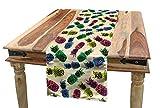 ABAKUHAUS Indie Tischläufer, 80er Jahre Vibrant Ananas, Esszimmer Küche Rechteckiger Dekorativer Tischläufer, 40 x 300 cm, Mehrfarbig
