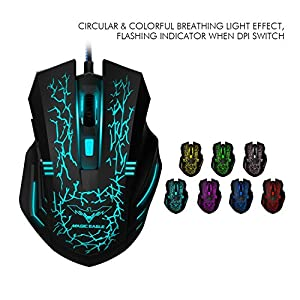 HAVIT 3200DPI Gaming Mouse, Wired Optical Mouse with 7 Adjustable Breathing Colours LED Lights and 6