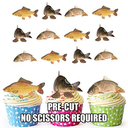 Vorgeschnittene Angeln Fisch Karpfen-Essbare Cupcake Topper / Kuchendekorationen (12Stück) (Fisch Toppers Kuchen)
