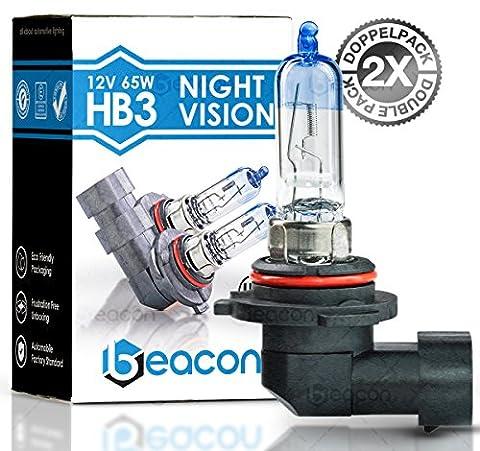 Lampe de phares Beacon HB3 night vision – Visibilité claire dans le brouillard, la pluie, la neige et les routes mouillées - Convient à toutes les voitures avec socle de lampe HB3 P20d (12V 65W), pour les éclairages faibles et faisceaux principaux, y compris l'immatriculation routière dans un double pack écologique (2 pièces d'ampoules