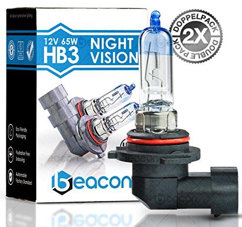 Preisvergleich Produktbild Beacon HB3 Night Vision Scheinwerferlampe - Höchste Sicherheit bei Nebel, Regen, Schnee und nasser Fahrbahn - Passt in alle PKW mit HB3 Lampen P20d Sockel (12V 65W) für Fernlicht inkl. Straßenzulassung im eco-freundlichen Doppelpack (2 Stück HB3 Glühbirnen)