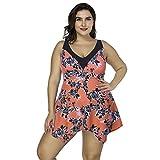FeelinGirl Damen Badeanzug Bademode Bauchweg Print Flower Beach Bikini Set Tankini Oberteile Top Plus Size XXL