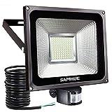 50W LED Fluter bewegungsmelder außen Strahler Licht Scheinwerfer Außenstrahler Wandstrahler 4200LM Schwarz Aluminium IP65 Wasserdicht AC 85 - 265V Weiß
