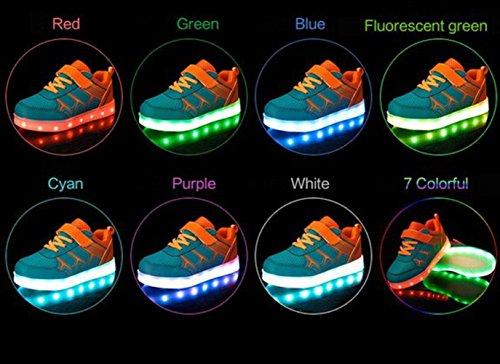 (Présents:petite serviette)JUNGLEST Unisexe Enfant Filles Garçons Couleur USB Charge LED Lumière Lumineux Clignotants Chaussures Orange