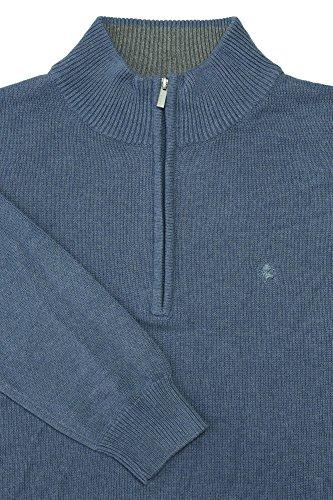 Kitaro Herren Basic Pullover Strick Troyer Blau