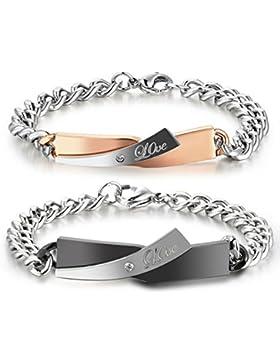Love ID Edelstahl Armbänder mit Strass Partnerarmbänder mit Gravur nach Wunsch Paar