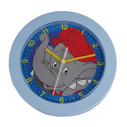 Preisvergleich Produktbild Kinderuhr Benjamin Blümchen Quarz 22x22cm Kinderwanduhr blau Wanduhr Kinder Uhr