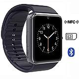kamre Teléfono Bluetooth Smart Watch con NFC Smart Watch Reloj Inteligente Reloj de pulsera Fitness Deportes reloj de pulsera con rastreador Teléfono con lector tarjeta SIM/cámara/Podómetro/Dormir Tracker/romte Captura kompatibe Reloj de pulsera teléfono compañero de reloj teléfono con Android Smartphone