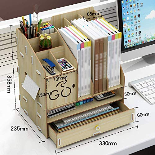 DX Schreibtisch Aufbewahrungsbox Bürobedarf aus Holz Ordner Schublade Büro Regal (3 Farben, 3 Stile) (Farbe: Weiß Ahorn, Größe: 33,5 \u0026 Times; 25,5 \u0026 Times; 29 cm) -