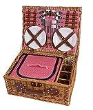 Cestino da picnic in vimini 4 persone Tavola Cestino da picnic Cestino di vimini Cestino di vimini Set da picnic (rosso)