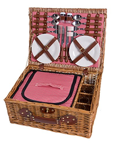 eGenuss Weidenpicknickkorb 4 Personen Geschirr Picknick Korb Weidenholz Tasche Weidenkorb mit Kühlfach Picknickset (Rot)