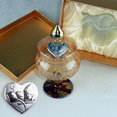 Dlm24140 portagioie in vetro soffiato con piastra cresima completo di scatola bomboniera
