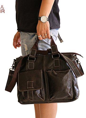 insum Herren Vintage Leder Schulter Tasche Kaffee