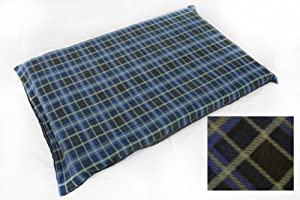 DELUXE LARGE SIZE WATERPROOF DOG BEDS/PET BED Blue Check FLEECE by Treeline Products