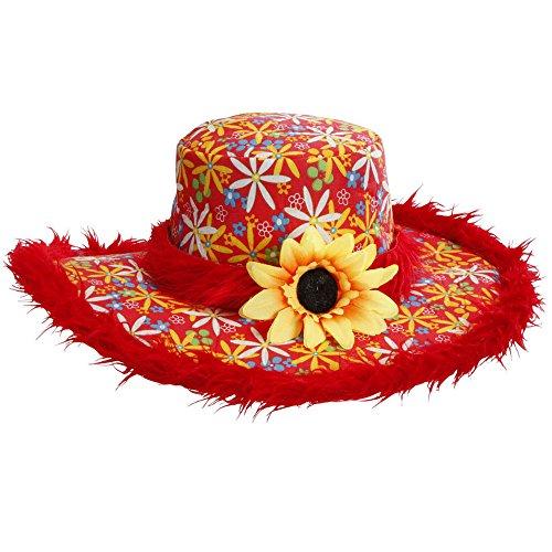 Widmann 2599D - Hut Ibiza mit Plüschrand und Sonnenblume für Erwachsene, One (Urlaub Firma Kostüme)