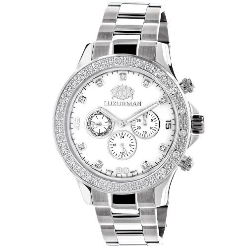 Luxurman Mens Diamond Watch 0.2ct White Gold Plated White MOP Liberty