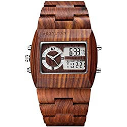 Jiangyuyan® Red Sandal Analog Digital Dual Display Dual Movements Men Dess Watch #391802