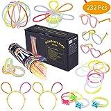 100 Knicklichter Leuchtstäbe Armbänder Glowstick mit 100 Steckverbindern, Dreifache Armbänder, Ein Stirnband, Ohrringe, Blumen, Eine glühkugel & vieles