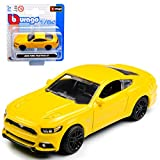 alles-meine.de GmbH Ford Mustang VI Coupe Gelb Ab 2014 1/64 Bburago Modell Auto mit individiuellem Wunschkennzeichen