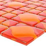 Glasmosaik Fliesen Nokta Rot Orange 3D | Wandfliesen | Mosaik-Fliesen | Glasmosaik | Fliesen-Bordüre | Ideal für die Küche und Badezimmer