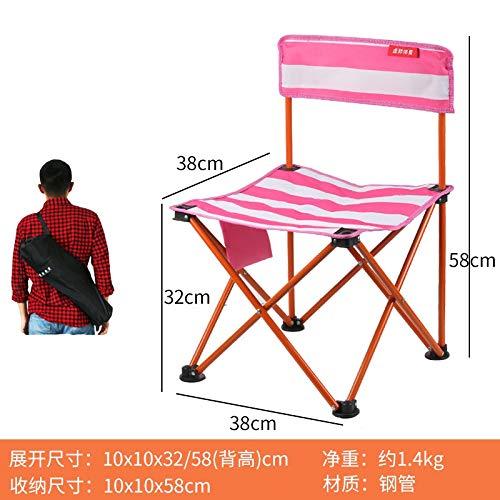 WXZB Folding Kleine Hocker Ultra-leichte Outdoor-Portable Kleine Schlange Erwachsenen Kinder Haushalt Hocker Bank Hocker Pferd Angeln Stuhl, rote Streifen [Klappstuhl]