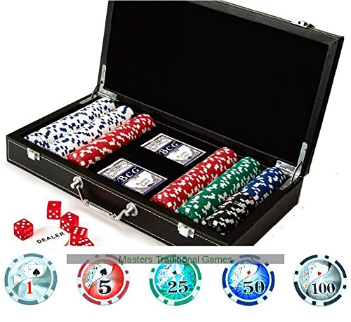 Masters Poker Set with 300 x 11.5g clay chips and vinyl case