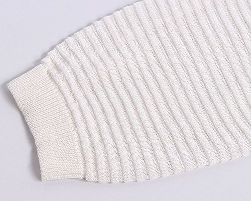 Femme Pull à Cou Rond Tricots Manches Longues Pullover Blouse Haut Blanc