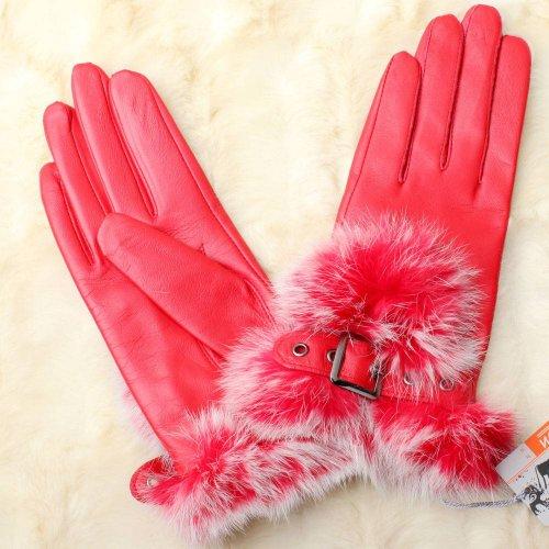 WARMEN Gants pour Femme en Cuir Nappa véritable avec Boucle design Revers en Fourrure de Lapin Rouge