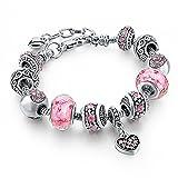 Versilbert Sweet Pink Kristall Perlen Murano Glas Herz-Anhänger Charm Armband für Frauen Mädchen Schmuckset Geschenk langen Weg