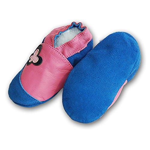 Lederpuschen Hausschuhe Kindergartenschuhe Krabbelschuhe Baby Lederschuhe Schläppchen Lauflernschuhe mit Wildledersohle Gr.19-31 LappaDE Art. 157 Schmetterling rosa-blau Ledermix