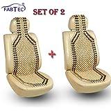 Fabtec Car Wooden Seat Beads Cushion Acupressure Design Set of 2