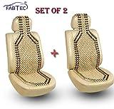 #3: Fabtec Car Wooden Seat Beads Cushion Acupressure Design Set of 2
