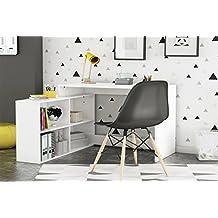 LIQUIDATODO ® - Escritorio de rincon moderno y barato con 4 huecos en color blanco