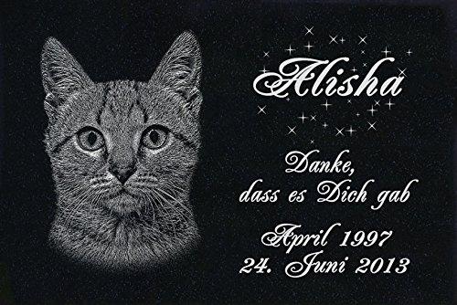 """GRANIT Grabstein - Grabplatte - Grabschmuck mit der Lasergravur des Motives """"Katze-ag07"""" (mit dem Musterbild oder Ihrem eigenen Foto - siehe Auswahl) und Ihrem Foto/Text und Daten von LaserArt24"""