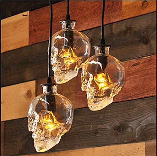 WOF Schädel Kopf Glas Kronleuchter 3-Kopf-Scheibe E14 110V 220V Totenkopf Lampe Breite 16c Höhe 16cm hängenden Länge 1.6m