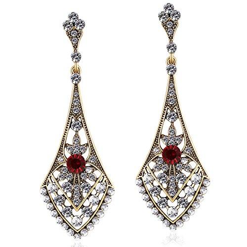 ArtiDeco 1920s Ohrringe Boho Damen Retro Bohemian Stil Dangle Ohrringe Damen Gatsby Kostüm Accessoires (Stil 3-Gold) Abschlussbal