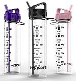 Motivierende Wasserflasche, 900ml,mit Flip-Trinkhalm und Zeit-Markierungen, um Ihnen zu helfen, mehr Wasser zu trinken, aus Tritan, umweltfreundlich und BPA-frei, ideal für:täglichen Gebrauch, Fitnessstudio, Laufen, für Erwachsene und Kinder,schneller Wasserfluss, wiederverwendbar und auslaufsicher., Schwarz