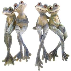 Décoration de jardin–Figurine avec une paire d'adorables grenouilles aux longues pattes –Idéale comme statue pour bassin