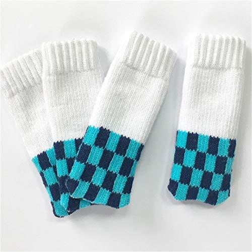 YUELANG 4 Stücke Kirsche Stuhlbein Socken Heimtextilien Bein Bodenschoner rutschfeste Tischbeine Hülse Gestreifte Stuhlabdeckung Fuß Stricken Socken (Color : J, Specification : 10 x 3 cm) -