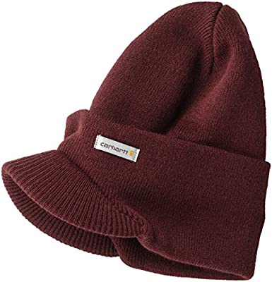 Carhartt Men's Knit Hat with Visor, Port, OFA